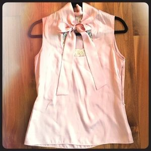BANANA REPUBLIC silk satin bow lace blouse shell S